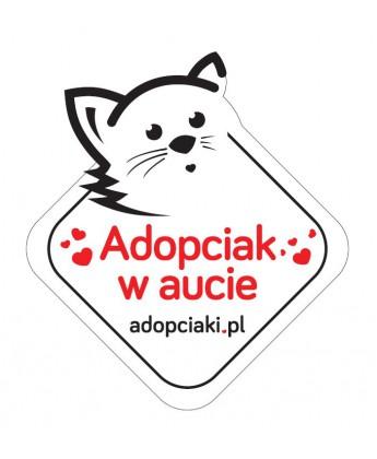 Naklejka samochodowa adopciak w aucie - kot